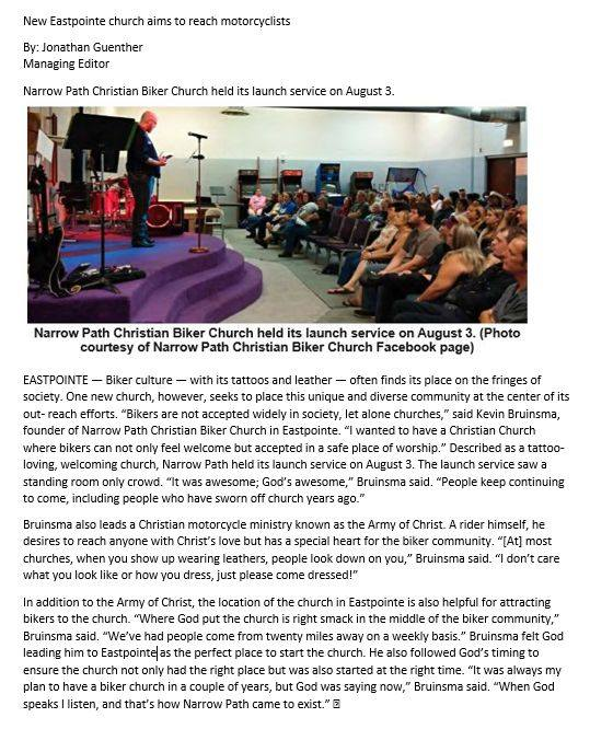 published article about Narrow Path Christian Biker Church